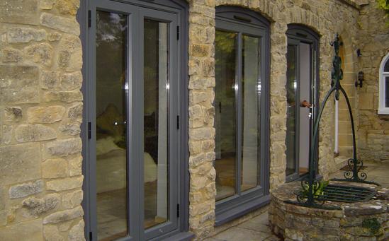 Grey aluminium french doors-