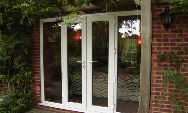 white upvc french doors